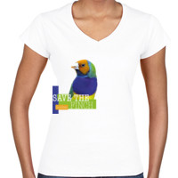 Save the Gouldian Finch Colour Womans Slimfit V Neck tee